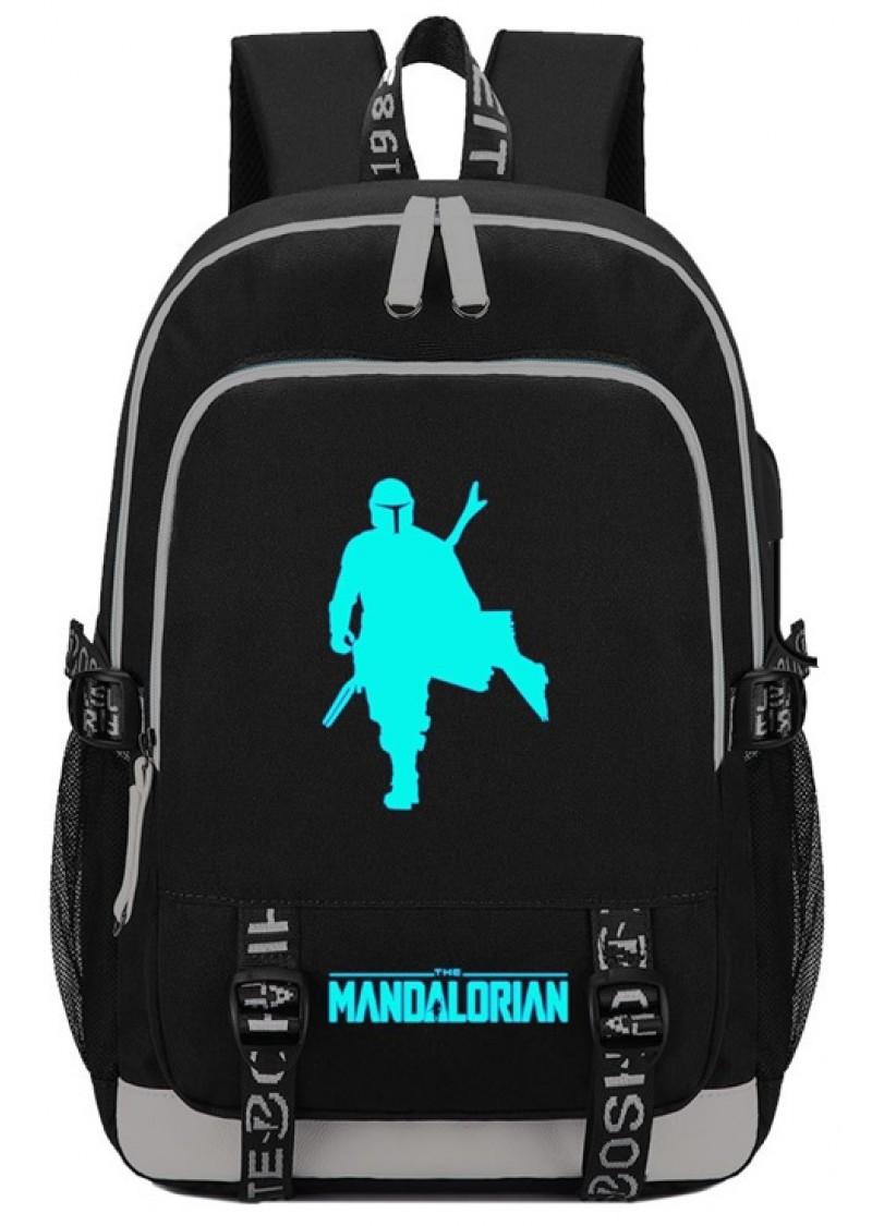 Рюкзак Мандалорец светящийся, черный с USB и Jack 3.5