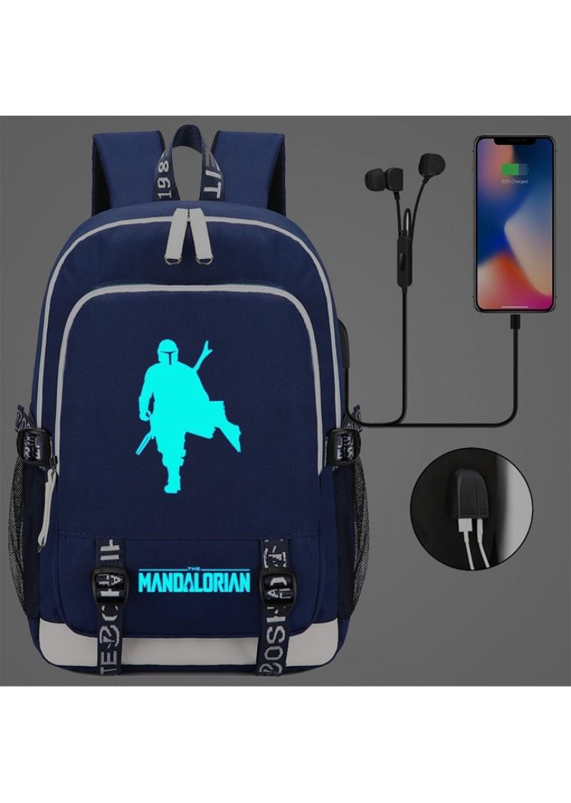 Рюкзак Мандалорец светящийся, синий с USB и Jack 3.5
