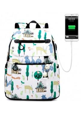 Городской рюкзак женский Winner Nature 40 см Белый с USB