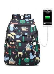 Городской рюкзак женский Winner Nature 40 см Черный с USB