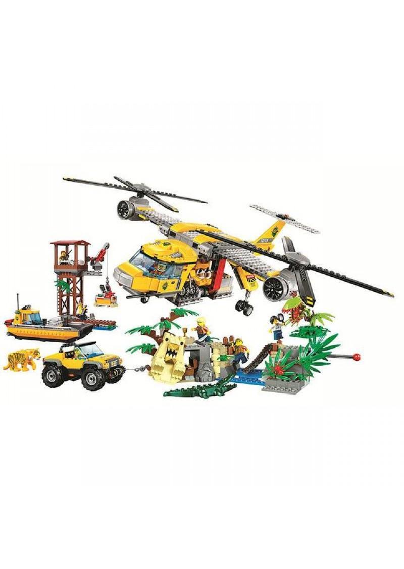 "Конструктор Сити ""Вертолёт для доставки грузов в джунгли"" Bela 10713 аналог Лего 60162"